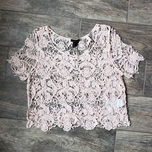 Forever 21 Crochet Lace Crop Top Blush S Festival